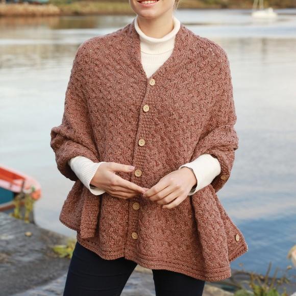 New Aran Irish Wool 3 Way Poncho Shrug Wrap Brown